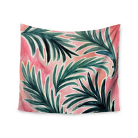 "Crystal Walen ""Lush Palm Leaves "" Green Pink Wall Tapestry"