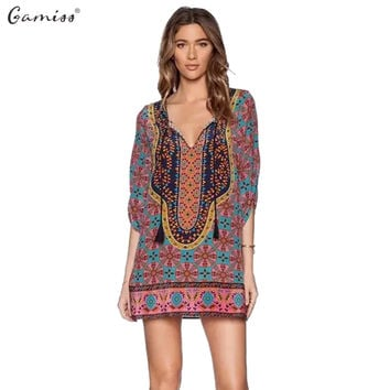 Gamiss Summer Dresses Women Vintage Ethnic Dress Brand Baroque Style Floral Print Beach Shift Dress Boho Hippie Dress Vestido