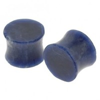 Sodalite Stone Double Flare Plugs - Sold as a set of two