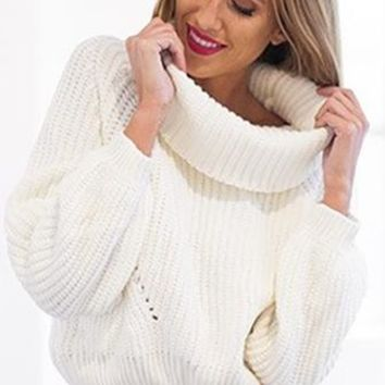 Fireside Lounge White Cowl Neck Long Sleeve Crop Pullover Sweater