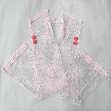 Long Lace Gloves, Pink Lace Gloves, Lace Arm Warmers, Lolita Gloves, Extra Long Fingerless Gloves with Metal Enamel Buttons