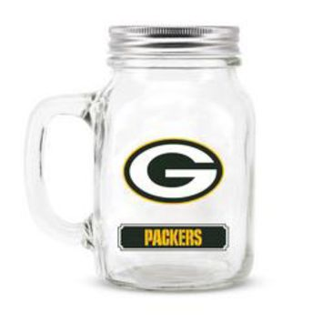 Green Bay Packers NFL Mason Jar Glass With Lid