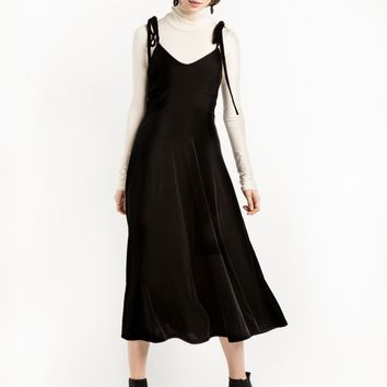 BLACK VELVET SHOULDER TIE LONG DRESS