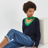 Choker V-Neck Knitted Sweatshirt