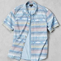 CPO Blanket Stripe Denim Short-Sleeve Button-Down Shirt