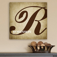 JDS Personalized Gift Calligraphy Monogram Textual Art on Canvas