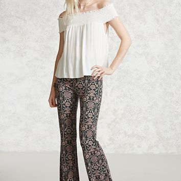 Ornate Floral Flared Pants