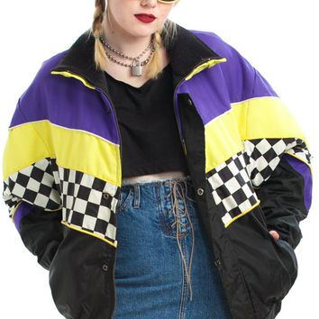 Vintage 90's Ambient Atmos Checkered Puffer Jacket - XL/2X