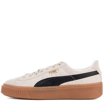 The Women's Suede Platform Core Sneaker in Whisper White & Black