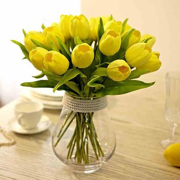 20 Pcs/lot Pretty Elegant Artifical Real Touch PU Yellow Tulips Single Stem Bouquet Home Centerpiece Wedding Decor