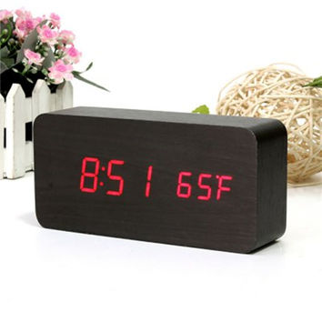 AJ6035 LED Wooden Alarm Fashion Modern Four Colourful Clock Time Temperature Week Calendar Display for Home Office