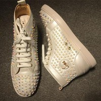 Christian Louboutin CL Louis Spikes Style #1844 Sneakers Fashion Shoes Best Deal Online