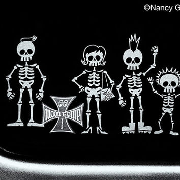 Photo, skeleton family sticker, rear window of antique restored hearse, Mom, Dad, son with mohawk, little sister, family cat, fine art print