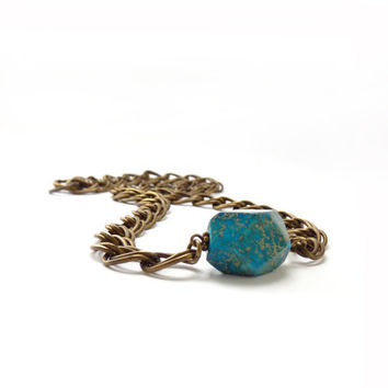 Geometric Turquoise Necklace - Aqua Terra Jasper Nugget - Stacking Layering Bracelet - Chunky Bronze Chain - Bohemian Jewelry