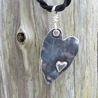 Rustic Hammered Heart Necklace by The Wild Willows