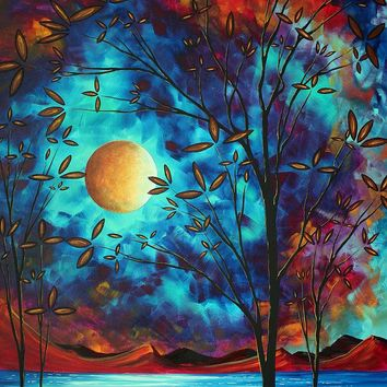 Abstract Art Landscape Tree Blossoms Sea Moon Painting VISIONARY DELIGHT by MADART Painting by Megan Duncanson - Abstract Art Landscape Tree Blossoms Sea Moon Painting VISIONARY DELIGHT by MADART Fine Art Prints and Posters for Sale