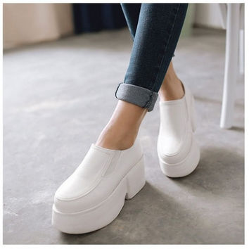 Sip On Platform Shoes PU Leather Women Wedges Loafers