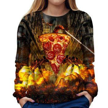 Evil Pizza Womens Sweatshirt