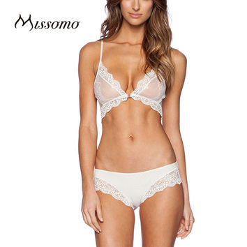 Missomo 2017 New Fashion Women White Sexy Push Up Lace Adjustable Strap Bralettes Trim Underwear Soft Panties Bra Sets