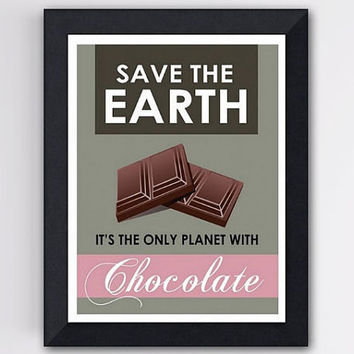 Funny Art Print Save the Earth Gray and Pink 8 X by TheWallaroo