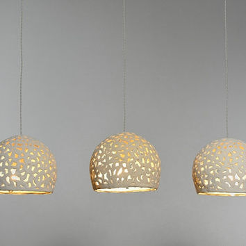 3 ceramic hanging lights. Ceiling light, pendant light, ceramic lighting, light fixture.