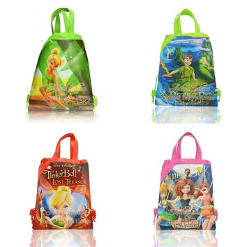 12pcs Lovely Peter Pan Tinker Bell Cartoon Drawstring Backpacks Kids Party Bags,School Shopping Bags,Birthday party Gift 34*27cm