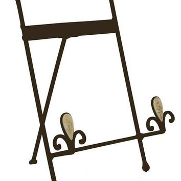Wrought_Iron_Table_Top_Easel,_Decorative_Tripod_Design,_9-5/8??W_x_10-1/2??H_-_Brown_19446