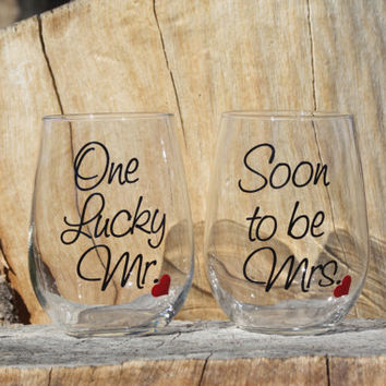 One Lucky Mr. and Soon to be Mrs. Stemless Wine Glasses. Engagement or Wedding Gift/Bride and Groom