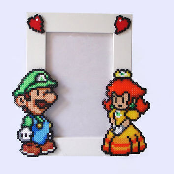 Valentine's Day Luigi & Daisy - Paper Mario Picture Frame . White Frame with Luigi and Daisy. Horizontal or Vertical