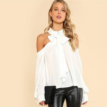 White Tie Neck Bow Collar Halter Blouse with Open Shoulder