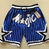 Just Don 1994-95 Orlando Magic Vintage Embroidered Pocket Zipper Basketball Swingman Shorts Blue - Best Deal Online