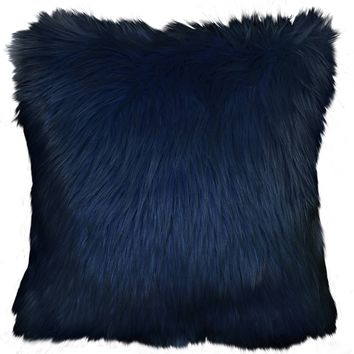 Better Homes and Garden Faux Fur Decorative Pillow, Light Aqua Blue
