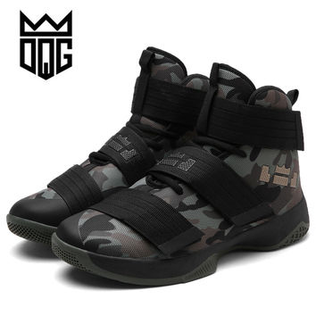 DQG Men's Basketball Shoes Air Damping Men Sports Sneakers High Top Breathable Trainers Leather Shoes Men Outdoor Jordan Shoes
