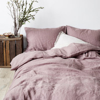 US Queen Size Dark Lavender Linen Bed Set