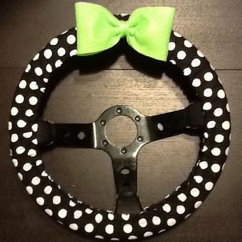 Black and white polka dot fabric steering wheel cover with bow