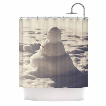 "Angie Turner ""Snowman"" White Nature Shower Curtain"
