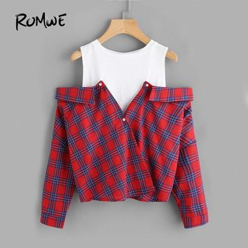 ROMWE Open Shoulder Check 2 In 1 Shirt Tunic Vogue Blouse Women Red Button Plaid Top Fall Long Sleeve Lapel Blouse