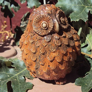 Owl Stone, ooak finish, Owl Statuary, Owl Garden Decor. Home Owl Decor