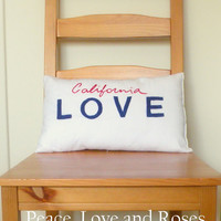 California Love License Plate Pillow by PeaceLoveAndRoses on Etsy