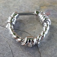 16 Gauge Silver Barbed Wire Septum Ring Clicker Daith Ring Nose Piercing