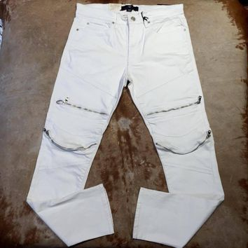 Jordan Craig JM3067 Men's White Biker Zipper Jeans