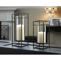 Iron And Glass Pillar Candle Stand Accent Pair