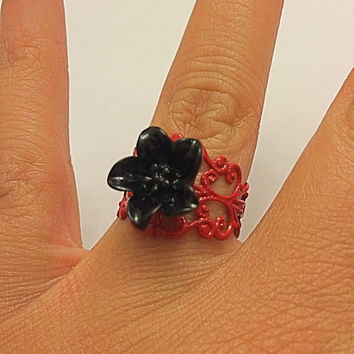 Black Lily Red Filigree Metallic Ring Floral Adjustable Statement Ring