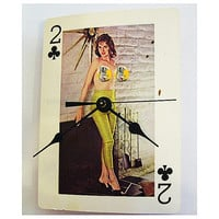 pin up girl clock retro vintage nude playing card rockabilly girlie kitsch mature