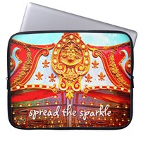 """Spread sparkle"" carousel face photo laptop sleeve"