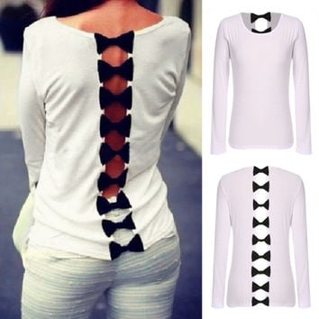 Stylish Lady Women's Fashion Sexy Casual Long Sleeve Bow Back Hollow Out Blouse Tops Shirt