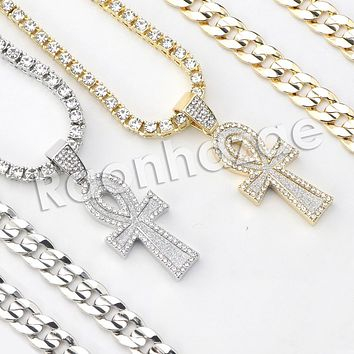 "Micro Pave Pharaoh Ankh Cross Pendant w/ 18"" Tennis / 30"" Cuban Chain"