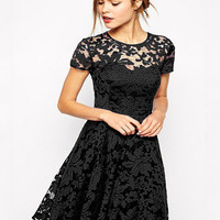 Short Sleeve Lace Shirtwaist A-line Pleated Mini Dress