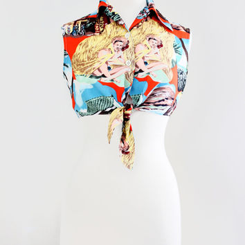 Vintage Rockabilly Pin Up Tiki Style Crop Top - Retro Midriff Tie Blouse - Tie Waist Blouse - Size Small