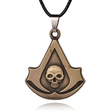 Hot Sale Assassins Creed Rope Chain Blade Skull Pendant Necklace Gold Assassins Creed Stainless Steel Necklace for Men Women